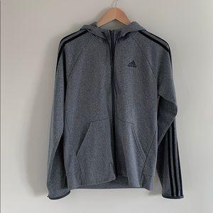Adidas Men's Grey Zip up Hoodie.